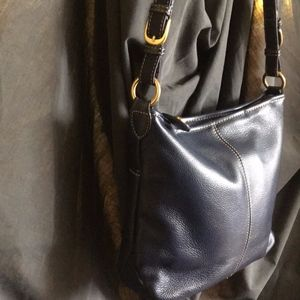 The Sak Navy Blue Medium Leather Hobo Bag